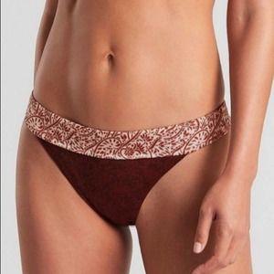 NWT Athleta Aqualuxe Batik Mid Rise Bikini Bottom